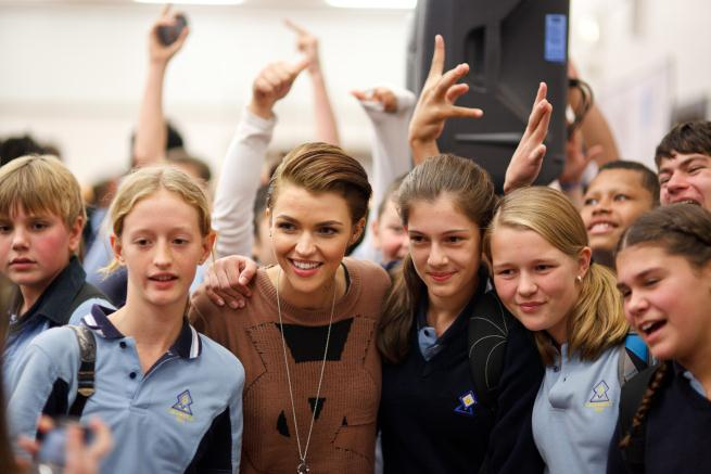 Celebrity Ruby Rose and students from Sydney Secondary College post for a photo as part of the Back Me Up anti-bullying campaign