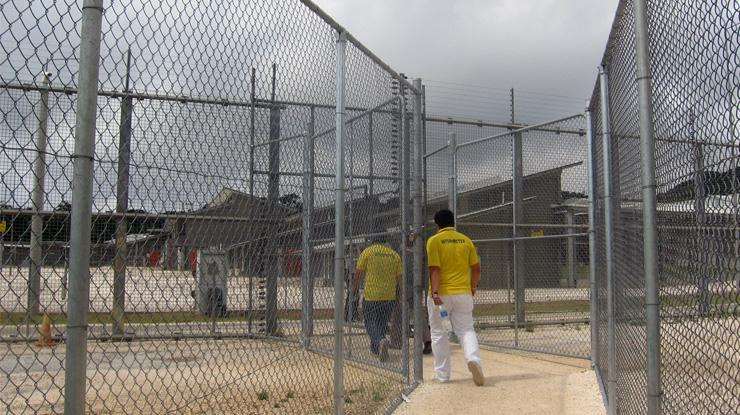 High fences at Christmas Island detention centre.