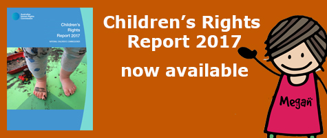 Children's Rights Report 2017 available now - picture of report cover and cartoon of Megan Mitchell