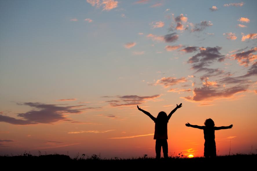Silhouette of Kids Praising God