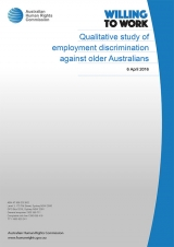 Age discrimination - Qualitative study of employment discrimination against older Australians cover