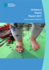 Cover of the 2017 Children's Rights Report - toddler with paint on feet