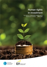 'Human rights in investment' cover - plant growing out of pile of coins