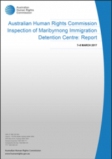 Cover of 2017 report on Maribyrnong Immigration Detention Centre (MIDC)