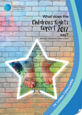 Cover of What Does The Child Rights Report 2017 say? toddler feet, playing in paint, inside neon star