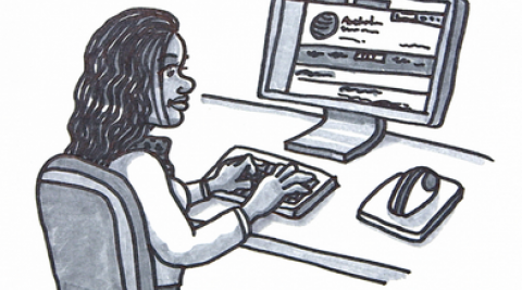 Person browsing Commission website